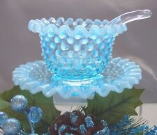 "FENTON GLASS""MINT&PRF~VINTAGE~40s""BABY BLUE""OPALESCENT""HOBNAIL""3pc""MAYONAISE SET"