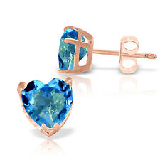 3.25 CTW 14K Solid Rose Gold Divinity Blue Topaz Stud Earrings