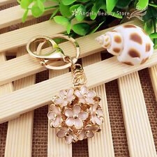 Fashion Creative Flower Crystal Keychain Keyring Handbag Accessory Charm Pendant