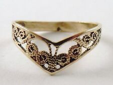 100% Genuine Vintage 9ct Solid Yellow Gold Filigree Dress Ring Sz 6 US
