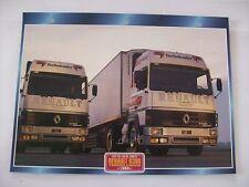 CARTE FICHE CAMION TRACTEUR CABINE AVANCEE RENAULT R 390 TURBOLEADER 1986