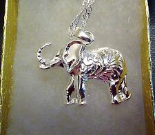 """925 ELEPHANT on a 24"""" 925 STERLING SILVER WAVY CHAIN NECKLACE"""