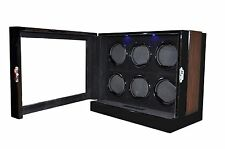 6 Watch Winder BLACK WOOD Velvet LCD Touch Digital LED Japan Motor Box 8203M