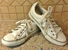 Girls White & Silver Converse All Star Tennis Shoes Sneakers Youth 1 SPARKLY