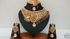 DESIGNER GOLD PLATED KUNDAN & ZERCONIC NECKLACE SET JEWELRY EARRINGS TIKA