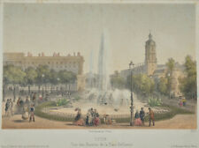c1850 Lyon Place Bellecour fontaines Tinted Lithograph by Becquet