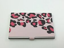 Business Card Carrying Case - Stainless Steel - Leopard /Pink