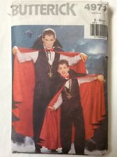 Butterick Vampire Dracula Fancy Dress Halloween Costume Cape Pattern Chest 26-32