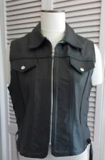 VINTAGE HARLEY DAVIDSON CLASSIC LOGO BLACK LEATHER VEST ZIP FRONT SIDE TIES XL