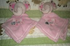Lot 2 Baby Gear Pink Elephant Mommy and Me fleece Baby Security Blanket blankets