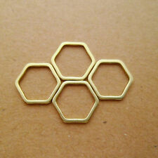 50pcs Minimalism Solid Raw Brass Honeycomb / Hexagonal Metal Frame Link Charms