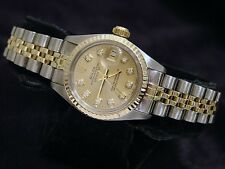 Rolex Datejust Ladies 2Tone 14K Gold & Steel Watch Champagne Diamond Dial 6917