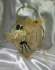 Bridesmaid/ Flower Girl,Gold Metal Bag Wedding, Bouquet,Posy Gold or Silver