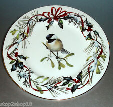 """Lenox Winter Greetings CHICADEE Accent Luncheon Plate 9.25"""" Gold Banded New"""