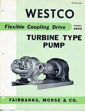 """Vintage """"WESTCO"""" Sales Brochure: TURBINE PUMP Model 6845"""