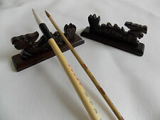 1pc Caved Solid Wood Dragon Chinese Brush Rest Holder Rack Calligraphy Painting