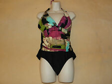 EUC Fantasizer Suit Swimsuit Halter Size 12 Black Pink Green Tan Ivory
