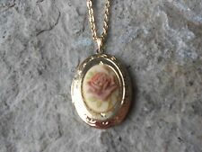 "CHOCOLATE BROWN ROSE ON TAN CAMEO GOLD PLATED LOCKET - QUALITY - 1"" - UNIQUE"