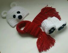 NEW Newborn Baby Christmas Polar Bear Hat Booties and Scarf Photo Prop Gift