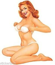 Retro Sexy Redhead Girl Ginger Stickers Pair Rare OOP Art: Baron Von Lind