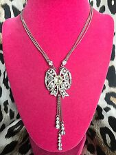 Betsey Johnson Pretty Punk Crystal Bow Art Deco Antique Style Necklace RARE