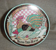 VINTAGE COLLECTIBLE TIN BLESS THIS HOUSE ROOSTER CHICKEN FARM COUNTRY SCENE GC