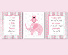 3 prints / posters for kids, baby girl - Dr Seuss quotes, pink owl, elephant