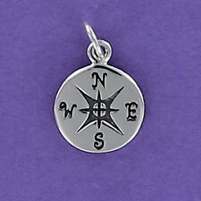 Compass Charm Sterling Silver 925 for Bracelet Engraved North South East West