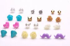MULTI PLASTIC STUD EARRINGS INCLUDING SKULLS, FLOWERS, MUSTACHES & HEARTS (ZX47)
