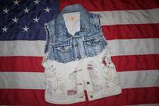 LOST BRAND Blue Destroyed Denim Vest Jacket Sz Large: coat/shirt/western  #4471