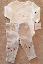 ADORABLE! NEW!! CARTER'S 3 MONTH 2PC GRAY & WHITE KITTY OUTFIT REBORN