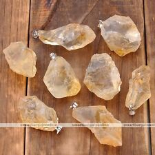Natural Citrine Crystal Healing Point Chakra Irregular Pendant For Necklace