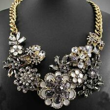 Fashion Pendant Crystal Statement charm chunky colorful collar Chain Necklace
