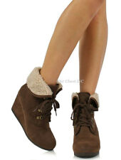 Womens High Heel Wedge Booties Cuffed Ankle Lace Up Combat Fleece Winter Boots
