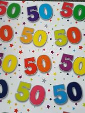 2 SHEETS OF THICK GLOSSY 50TH BIRTHDAY WRAPPING PAPER