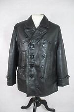Vtg German Black Leather Double Breasted U-Boat Submarine Jacket Pea Coat 40""