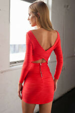 Size 14 Sexy Red Low Back Cutout Stretch Body Con Bandage Cocktail Party Dress