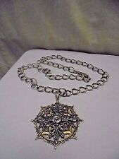 Vintage Large Silver Brass Ormalou French Cross Pendant Necklace on Link Chain
