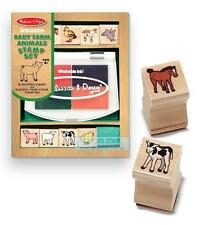 Melissa Doug M&D Baby Farm Animal Wooden Stamp Set Kids Art Craft Activity Toy