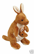 Ravensden Realistic Kangaroo With Baby Roo Plush Soft Toy Brown 30cm FRS036