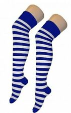 Ladies Over The Knee Blue And White Sailor Style Stripy Stripey Socks Sox Party