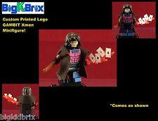 GAMBIT Xmen Marvel Custom Printed LEGO Minifigure w/Custom Trench Coat & Cards