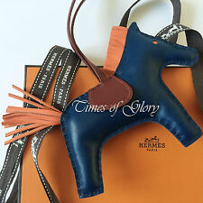 RARE Hermes Grigri Rodeo MM Leather Bag Charm Birkin Kelly Malte Blue Orange