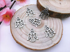 Wholesale 12pcs Tibet Silver Hollow Angel Charm Pendant Beaded Jewelry 110