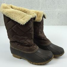 L.L. Bean Boots High Quilted Sherpa Lined Womens 7 M Maine Duck Boots Shoes Vtg
