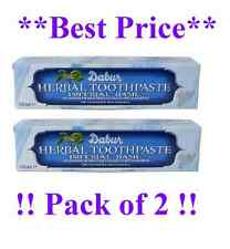 2x DABUR BASIL HERBAL TOOTHPASTE 100ML NO ADDED FLUORIDE SUITABLE FOR VEGETERIAN
