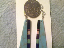 Turquoise Earrings w/Inlayed Jet, Red Coral, Orange, Gaspeite,Lapis