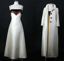 Vintage  50s 60s Wine Velvet Beaded Silk Wedding Party Dress Coat Gown S