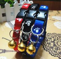 1Pc 1cm Wide Paws Print Nylon Puppy Kitten Kitty Cat Collar with Bell New