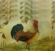 Set of 4 Country Hilltop Rooster Butterflies & Fruit Vinyl Kitchen Placemats